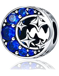 Sterling Silver Starry Sky Moon and Star Bead Charm,I Love You to the Moon and Back Charm for Bracelets
