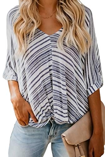 Women Summer Oversized Tops - Short Sleeve Casual Estate Striped Knit Twist T Shirts Blouses Tunics Blue