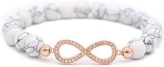TDPYT Infinity Bracciali E Braccialetti 8Mm Natural Black White Stone Beaded Bracelet Couple Gift