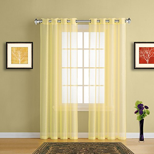 Warm Home Designs Pair Of 2 Standard Size 54 Width X 84 Length Light Lime Yellow Sheer Window Curtains Elegant Voile Panel Drapes Are 108 Inch Wide