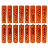 Eneloop Panasonic AA NiMH Pre-Charged Rechargeable Batteries with Holder, 16 Pack, Orange