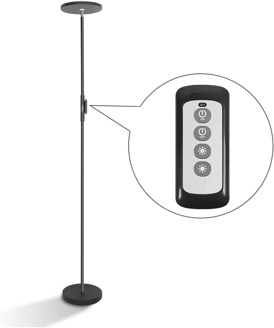 LED Torchiere Floor Lamp 20W with Super Bright Light,Adjustable Tall Standing Pole Light, Remote Control Uplight Floor Lamp for Reading, Living Room, Bedroom, Office Black