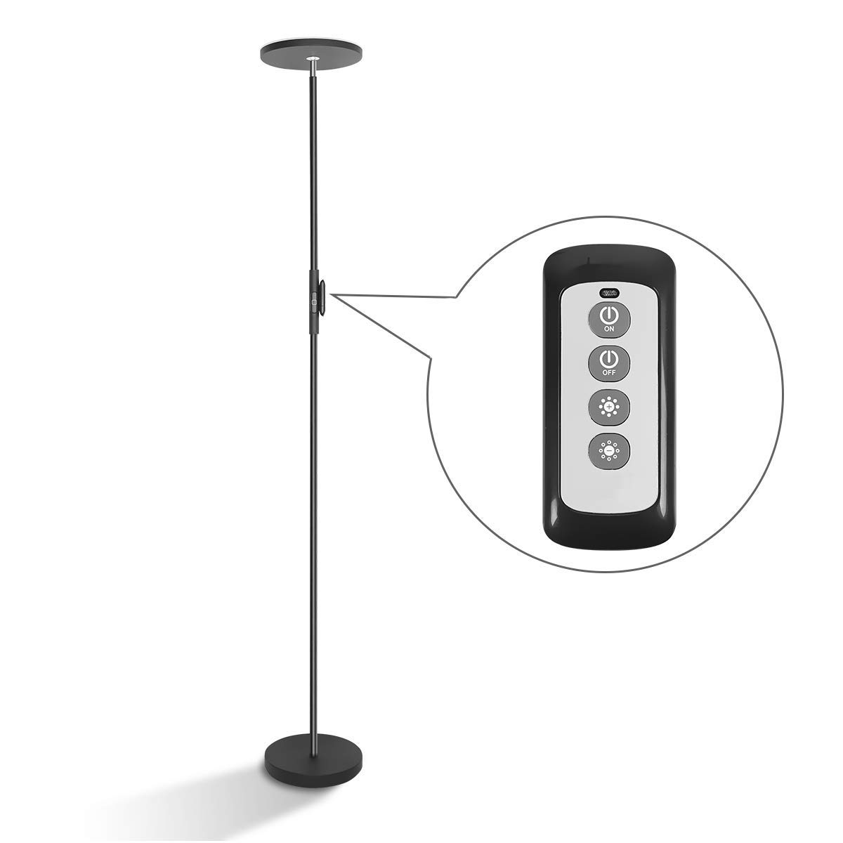 LED Torchiere Floor Lamp 20W with Super Bright Light,Adjustable Tall Standing Pole Light, Remote Control Uplight Floor Lamp for Reading, Living Room, Bedroom, Office (Black) by Anbomo