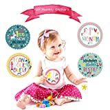 Monthly Baby Stickers for Girls | 2 Adjustable Baby Headbands Bundle | 28 Milestone and Holidays Stickers Pack for Infants and Newborns | Unicorn Design | Original Baby Shower Gifts