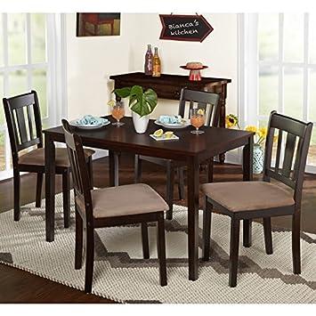 Amazon Com Piece Brown Wood Dining Set Tan Brown Suede