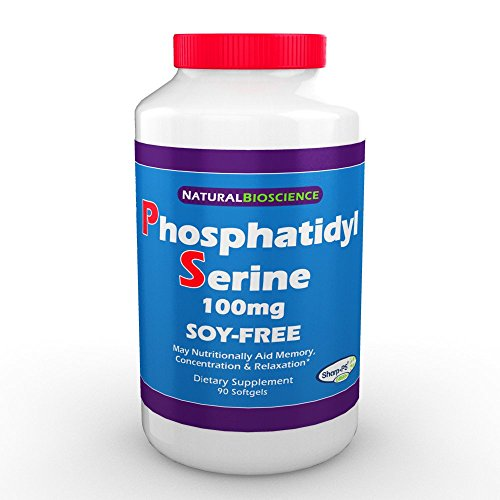 Phosphatidylserine Soy-Free 100mg, Patented Sharp-PS Formula, Phosphatidyl Serine Complex from Sunflower Lecithin, Natural Brain Booster for Memory and Focus, Soy-Free, Allergen-Free, Non-GMO 90 ()