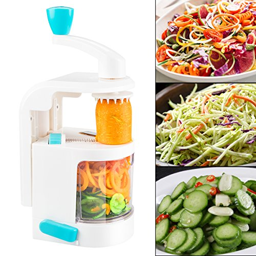 Spiralizer vegetable slicer handheld With Powerful Suction Base - 4 IN 1 small Blade Dial made Spiral Noodle/Zoodle/Spaghetti/Pasta Maker for Vegetable Spiralizer, Best Veggie Pasta and Spaghetti Make