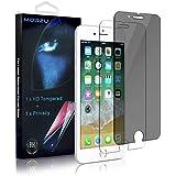 iPhone 8 Plus/7 Plus Privacy Screen Protector, MOR2U Anti-Spy Dark Screen Protector + HD Tempered Glass Screen Protector Film For Apple 7+/8+ (Anti-Fingerprint, Bubble-free, Shatterproof, 2-Pack)