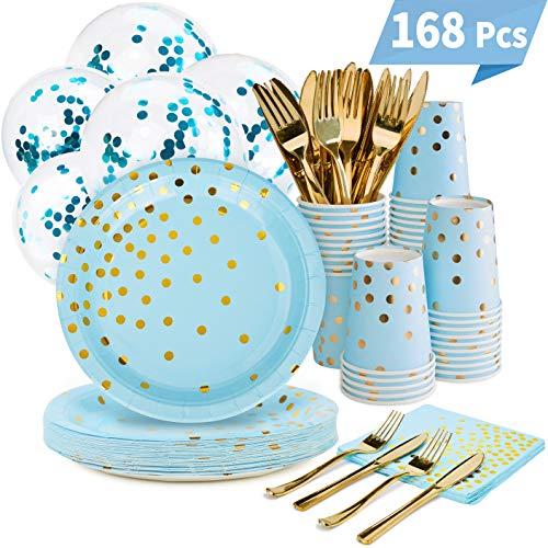 Blue and Gold Party Supplies Set - 168PCS Blue Paper Plates Disposable Dinnerware Set Dots 7