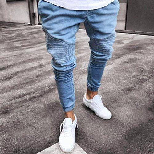 Lungo Especial Vintage Tinta 88 Da Estilo Rettilineo Jeans Hfige Bobo Uomo Skinny Nero Elastici Pantaloni Denim Unita Elasticizzati B7WSq