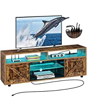 Rolanstar TV Stand with Power Outlet, Farmhouse RGB Light Entertainment Center with Storage Barn Door Cabinets for Living Room Bedroom 55/60/ 65 inch TV, Rustic Brown