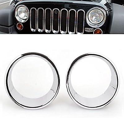 For Jeep Wrangler JK 2007-2016 Brand New Triple Chrome Headlight Bezel Ring Cover Trim