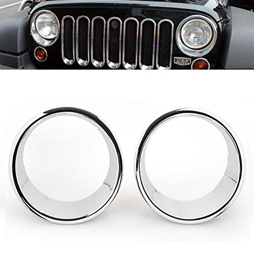 Hot Triple Weather Proof Chrome Headlight Bezel Ring Cover Trim For 2007-2016 Jeep Wrangler JK