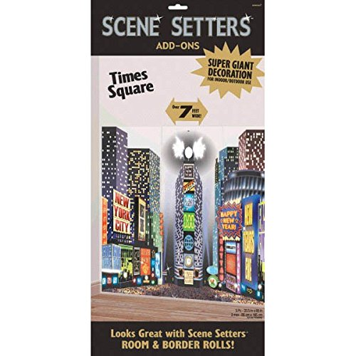 Amscan Sparkling Jewel Tones New Year Party Times Square Plastic Scene Setters Add‑Ons Decoration (3 Piece), Multicolor, 59