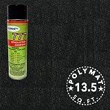 Polymat Quality 3ft X 4.5ft wide + 1 Can 777 Glue Black Cabinet Enclosure Carpet Truck Car Trunk Liner, Dash Cover, Interior Headliner Carpet