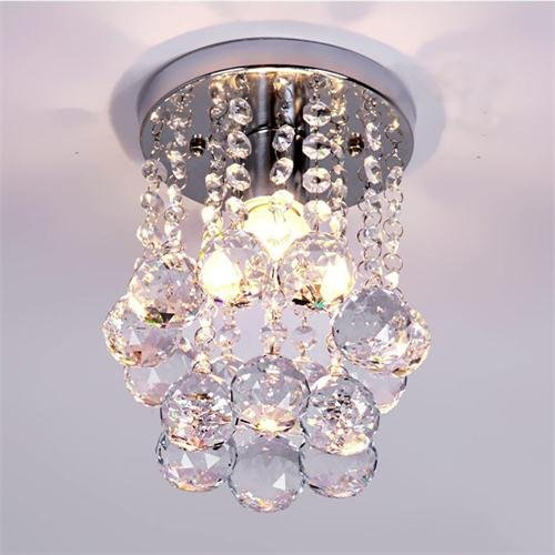 Goeco Mini Modern Crystal Chandeliers Flush Mount Rain Drop Pendant Ceiling Light with Warm Color Bulb for Girls Room,Bedroom(6.29Inch)