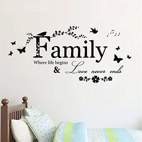 trfhjh Quotes Wall Sticker Home Art Family Flower Butterfly Art Vinyl Quote Wall Stickers Wall Decals Home Decor Bedroom Living Room Kids Room by trfhjh