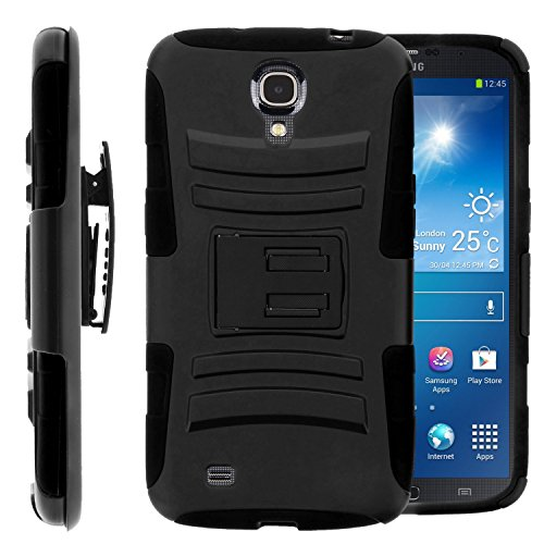 Samsung Galaxy Mega 6.3, GT-I9200 I9205 i527 (AT&T, Sprint, MetroPCS, U.S. Cellular) Case, Galaxy Wireless Hybrid Dual Layer Armor Phone Case Cover with Kickstand, Holster Belt Clip - Galaxy Mega Samsung Att Cases