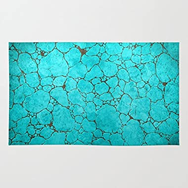 Society6 Turquoise Rug 3' x 5'