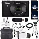 Nikon 1 J4 Mirrorless Digital Camera with 10-30mm Lens (Black) (International Model No Warranty) + EN-EL22 Battery + 40GB Total Memory + 6AVE Bundle