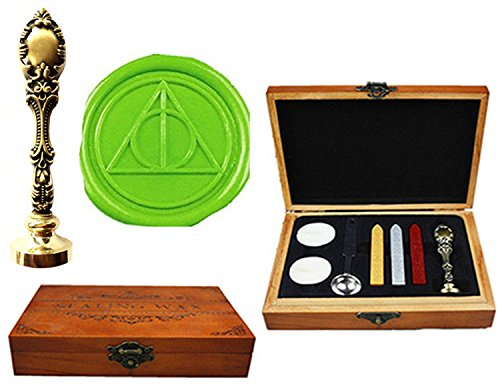 MNYR Deathly Hallows Luxury Wood Box Bronze Metal Peacock Wedding Invitations Gift Cards Paper Stationary Envelope Seals Custom Logo Wax Seal Sealing Stamp Wax Sticks Melting Spoon Wood Gift Box Kit