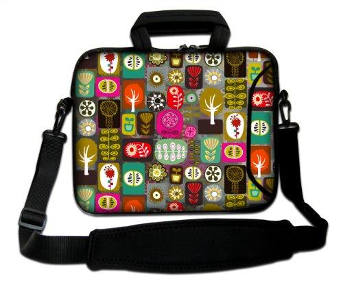 Luxburg® Design Funda bandolera Blanda Bolso Sleeve para Ordenador Portátil / MacBook de 17,3 pulgadas, motivo: Peces de colores Patchwork