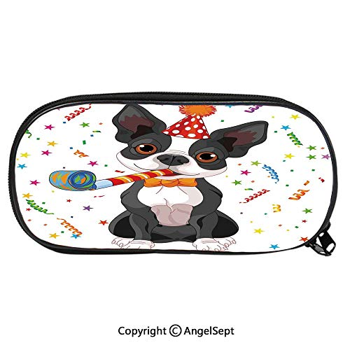 Large Capacity Student Pencil-boxBlack and White Boston Terrier with Colorful Party Backdrop Fashion Cute Animals PU Pencil HoldersMulticolor ()