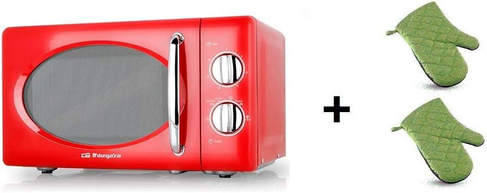 ElectrodomesticosN1 Pack Microondas Orbegozo MI 2020, 20 Litros, Rojo y Plata, 700 w + juego 2 manoplas