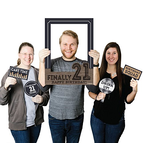 Finally 21 - Birthday Party Photo Booth Picture Frame & Props - Printed on Sturdy - Frame Dot
