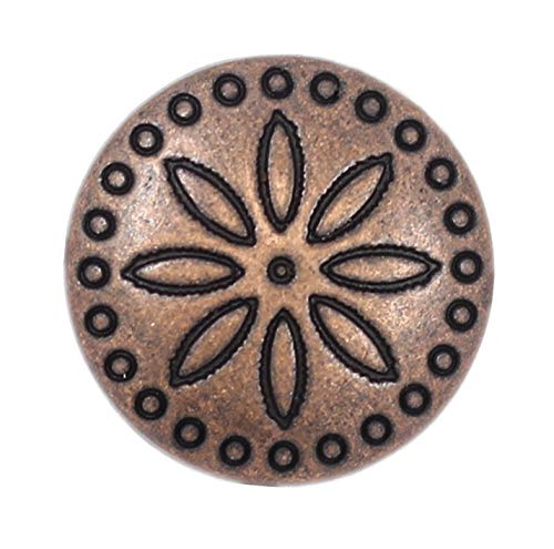 Bezelry 12 Pieces Simple Flower Carving Antique Copper Metal Shank Buttons 18mm (11/16 inch) ()