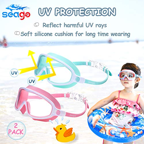 Seago Swim Goggles 2 Pack Anti-Fog Anti-UV Wide View Goggles Kids Swimming for Teens