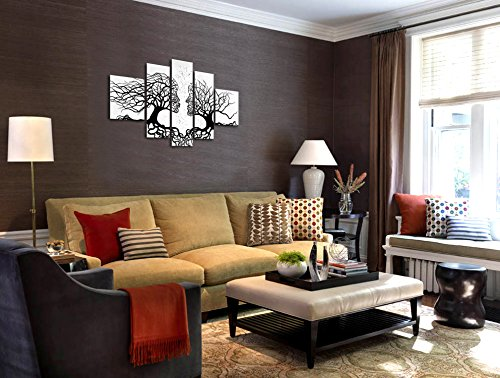 VASTING ART 5-Panel 100% Hand-Painted Oil Paintings Human Face Kiss Couple Tree Modern Abstract Wood Framed Canvas Stretched Hand Ready Home Decoration Wall Decor Black White Bedroom Living Room