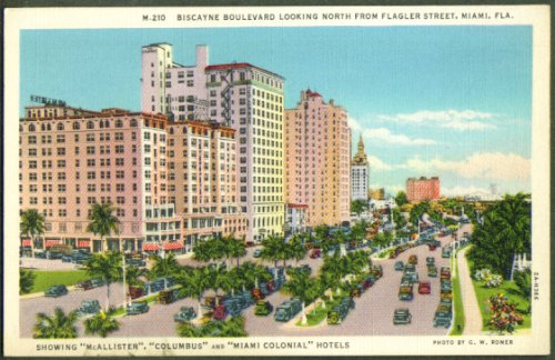 Biscayne Boulevard Flagler St Miami FL postcard 1930s