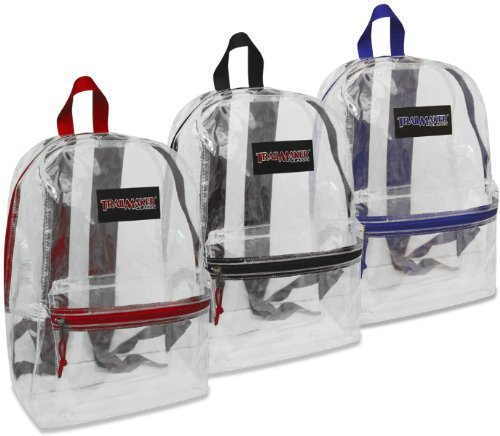 "17"" Trailmaker Backpack Bookbag, Clear with Colored Trim (Black Trim)"