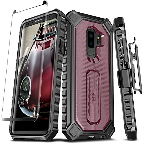 Samsung Galaxy S9 Plus Case, ELV [Croco Series] Premium Holster Defender Belt Clip Rugged Case - Curved Glass Screen Protector & Kickstand for Samsung Galaxy S9 Plus (Burgundy)