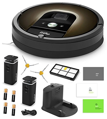 iRobot Roomba 980 Vacuum Cleaning Robot + 2 Dual Mode Virtual Wall Barriers (With Batteries) + Extra Side Brush + High Efficiency Filter + More (Renewed)