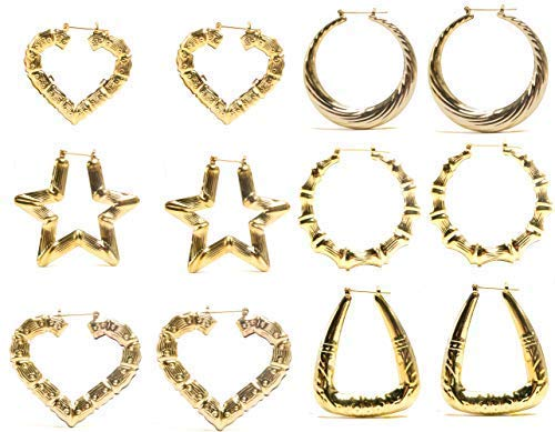 FROG SAC 6 Pairs Assorted Bamboo Style Hollow Casting Large Gold Tone Pincatch Earrings 90s Inspired Fashion Jewelry Accessories for Women