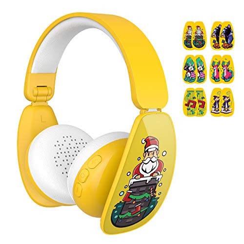 MindKoo Kids Wireless Headphones Bluetooth Over-Ear Headset with DIY Cartoon Stickers Foldable Volume Limiting Earphone for Children