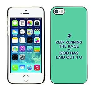 Paccase / Dura PC Caso Funda Carcasa de Protección para - BIBLE Keep Running The Race - Apple Iphone 5 / 5S