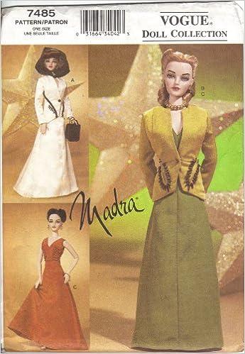Vogue 7485 - Fashion Doll Madra Clothing Patterns - Circa