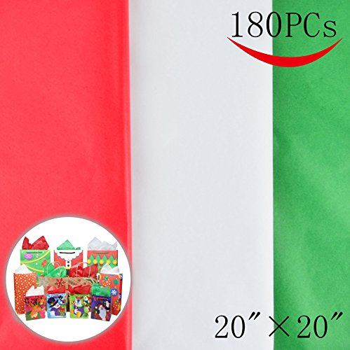 "180 Sheets 20"" x 20"" Christmas Tissue Paper Assortment (Red, Green & White); 60 Sheets per Color Easy and Fast Gift Wrapping Accessory for Christmas Gifts and Wine Bottles"