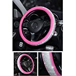 Pahajim Universal Car Steering Wheel Cover Bling Bling Rhinestones Leather Anti Slip Protector for Automotive Interior…
