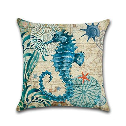 Mediterranean Sea Pictures (oFloral Cotton Linen Square Mediterranean Sea Decorative Throw Pillow Case 18