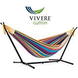 This is our best selling combination hammock & stand. The double hammock is made with 100% cotton, creating a comfortable refuge for an afternoon snuggle. The space-saving 9 foot stand is constructed of heavy duty steel & assembles in Min without any...