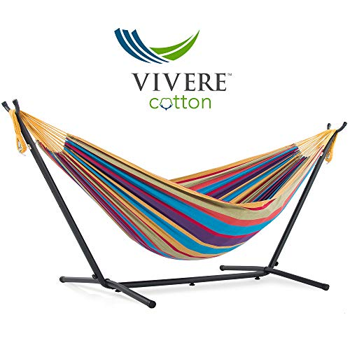 Vivere Double Cotton Hammock with Space Saving Steel Stand, Tropical (450 lb Capacity - Premium Carry Bag -