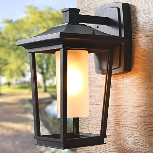 "Log Barn Large Outdoor Light Farmhouse Wall Sconce with Frosted Glass Cylinder for Entryways Hallway, Garden, 9.8"" L 8 "" W 14.8"" H-A03319, Black"