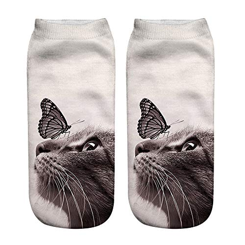Socks Pro Feet Anklet (Women Man Adult Popular Funny Unisex Short Socks 3D Cat Printed Anklet Socks Casual Socks New Year Gifts)