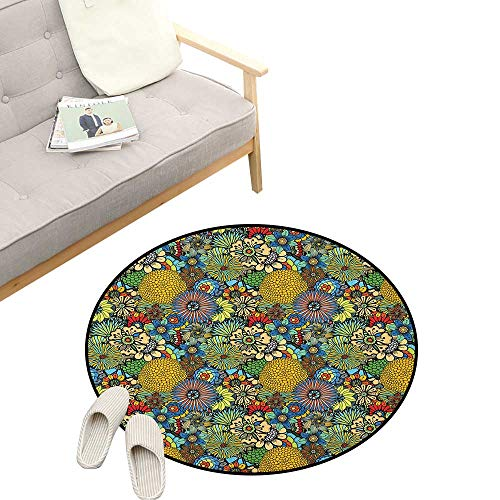 (Garden Art Kids Round Rug ,Whimsical Florist Pattern with Doodle Funny Plants Artistic Rich Summer Nature, Sofa Living Room Bedroom Modern Home Decor 31