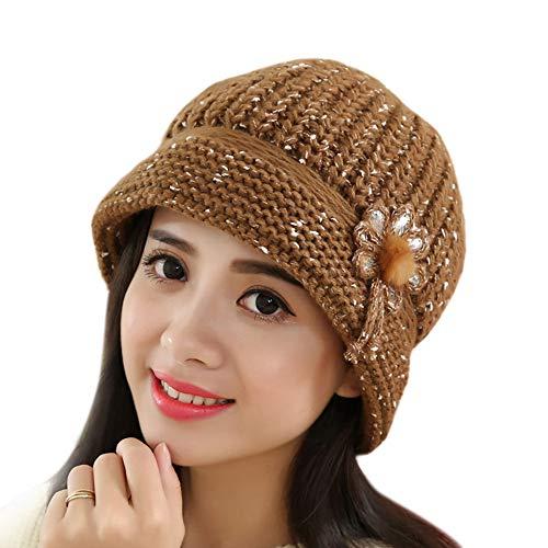 EnjoCho Clearance Sale!Elegant Women Knitted Hats Faux Rabbit Fur Cap Autumn Winter Berets Ladies Female Fashion Skullies Beret Hat (Coffee) -