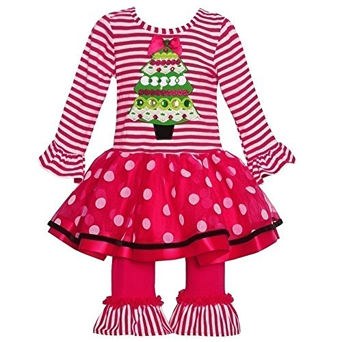 Rare Editions Baby Girls' 12M-24M Christmas Tree Top & Leggings Set Red 12 Months ()